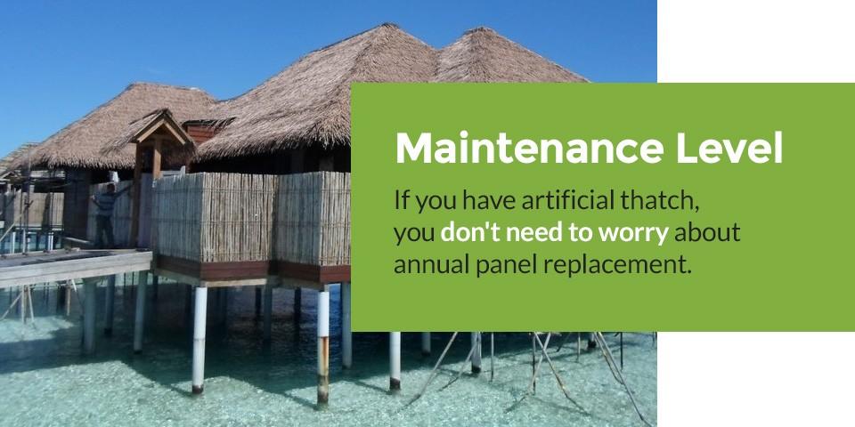Low maintenance artificial thatch