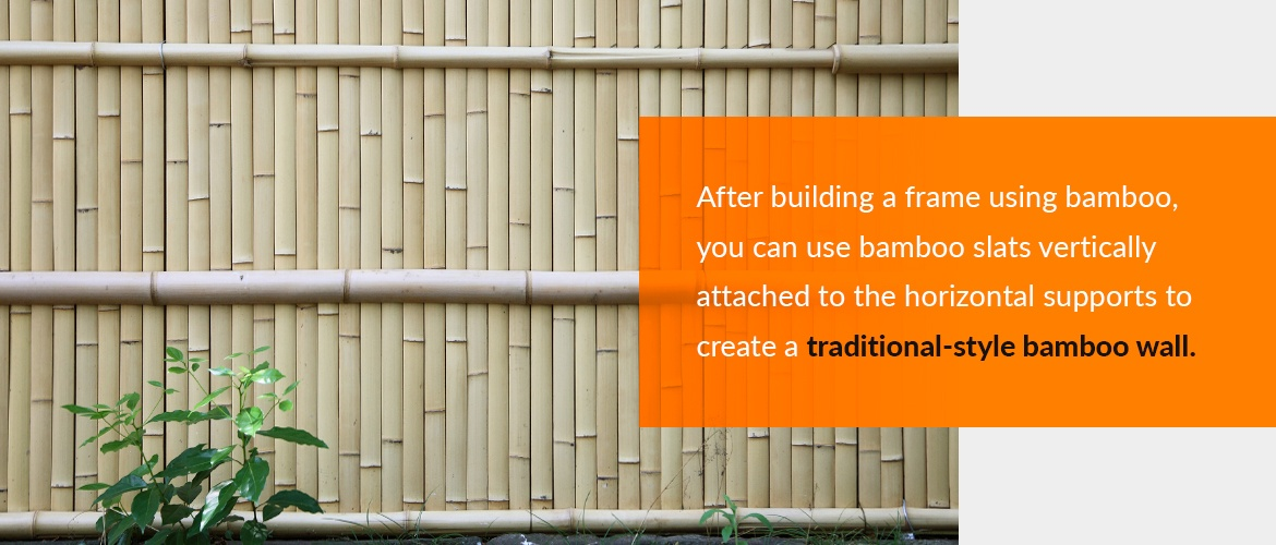 Creating a traditional bamboo wall from bamboo poles and slats