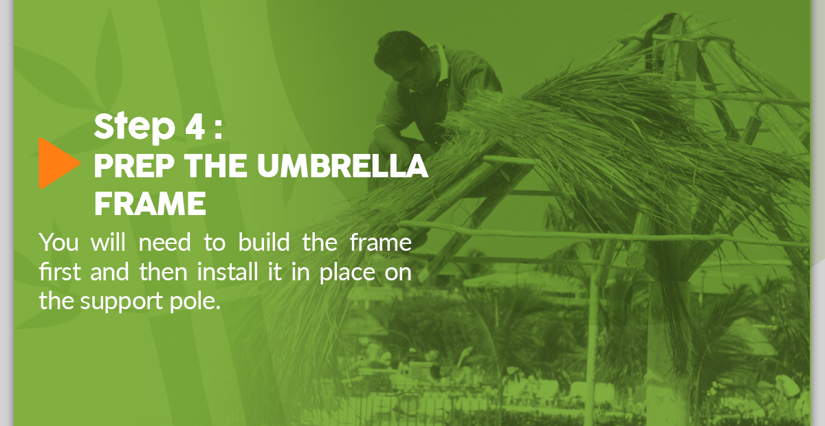Prepping the Thatch Umbrella Frame