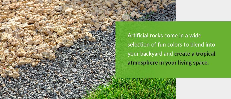 Artificial rocks in the backyard