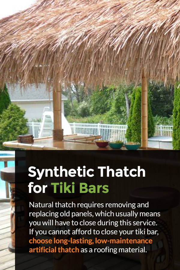 Synthetic tiki bar thatch roofing