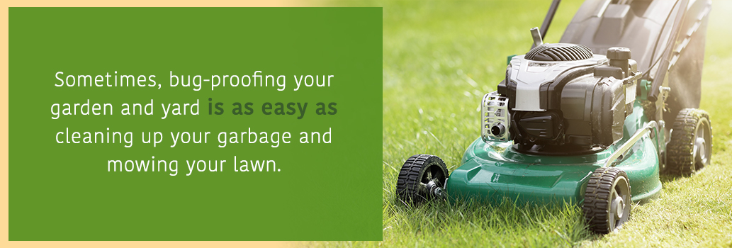 Mow the Lawn and clean up garbage to prevent backyard bugs