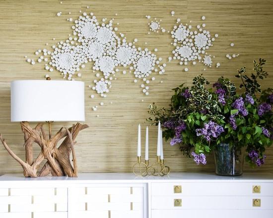 natural bamboo paneling wall