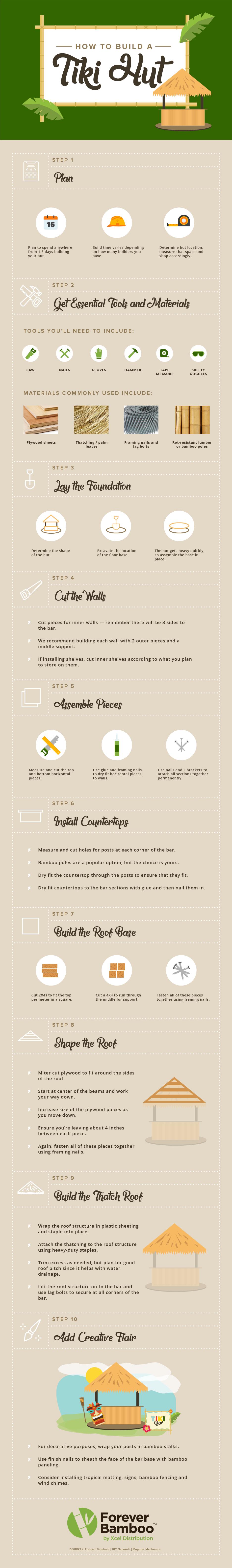 Steps for Building a Tiki Hut DIY