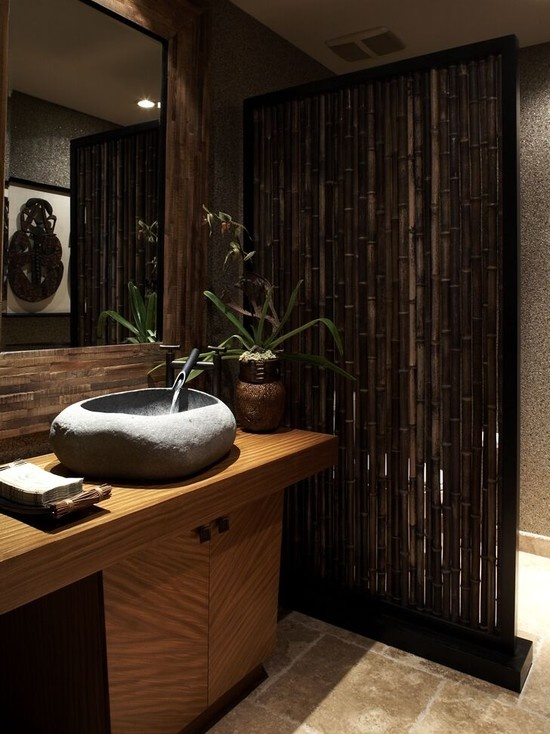 bamboo poles bathroom wall divider